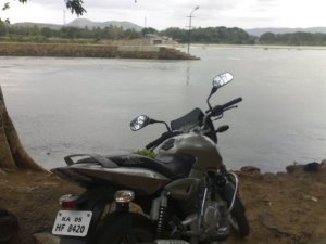 My bike facing river